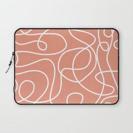 Doodle Line Art | White Lines on Coral Background Laptop Sleeve