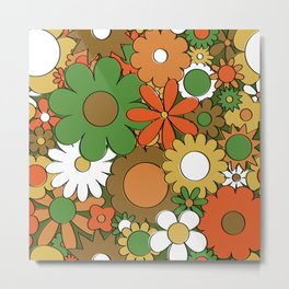 Funky Daisy Floral in Harvest Metal Print