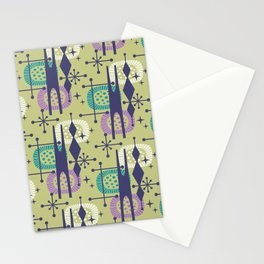 Retro Atomic Mid Century Pattern Blue Green Purple and Turquoise Stationery Cards