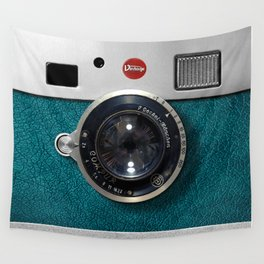 Blue Teal retro vintage camera with germany lens Wall Tapestry