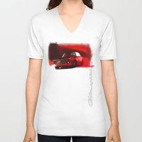 gta V-neck T-shirts featuring Alfa Romeo Giulia Sprint 1600 GTA by Vadim Artemyev