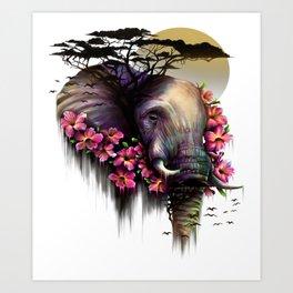 Colorful Elephant Tribal Fantasy African Animal Art Print