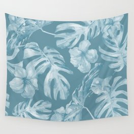 Tropical Escape Teal Blue Leaves + Hibiscus Wall Tapestry