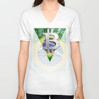 brazil V-neck T-shirts featuring bitcon Brazil by seb mcnulty