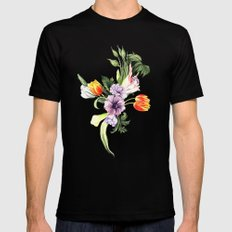 Watercolor spring floral pattern MEDIUM Black Mens Fitted Tee