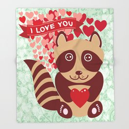 funny raccoon with red heart. I love you Throw Blanket