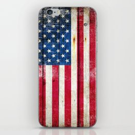 Vintage American Flag On Old Barn Wood iPhone Skin