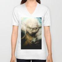 yoda V-neck T-shirts featuring Yoda by Colunga-Art