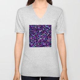 Purple pixel noise static pattern Unisex V-Neck