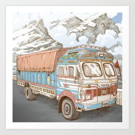 A Truck in the Himalayas Art Print