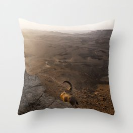 Ibex Over the Ramon Crater Throw Pillow