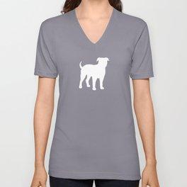 White American Bulldog Silhouette Unisex V-Neck