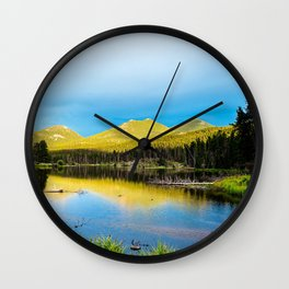 USA Rocky Mountain National Park Colorado Nature mountain Lake park Scenery Trees Mountains Parks landscape photography Wall Clock
