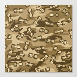 Dumbbell Gym Camo DESERT Canvas Print