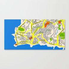 Salvador, Brasil Map Design Canvas Print