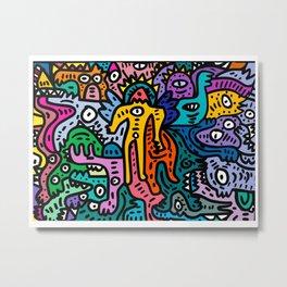 Graffiti Color Street Art Cool Monsters Metal Print