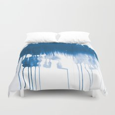 Paint 1 - indigo blue drip abstract painting modern minimal trendy home decor dorm college art Duvet Cover