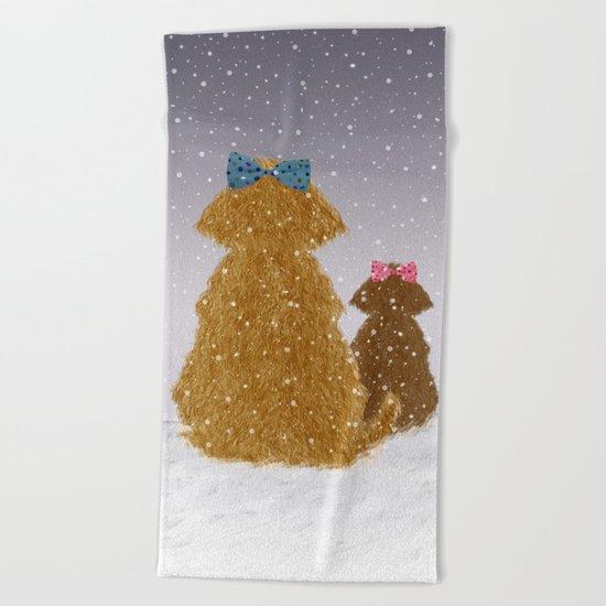 Cute Dogs Winter Scene Beach Towel