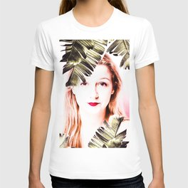 woman with palm laef T-shirt