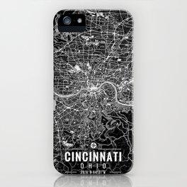 Cincinnati Ohio City Map Black iPhone Case