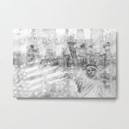 Graphic Art MANHATTAN Collage | silver Metal Print
