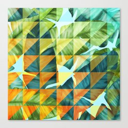 Abstract Geometric Tropical Banana Leaves Pattern Canvas Print