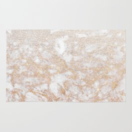 Elegant white faux glitter stylish marble pattern Rug