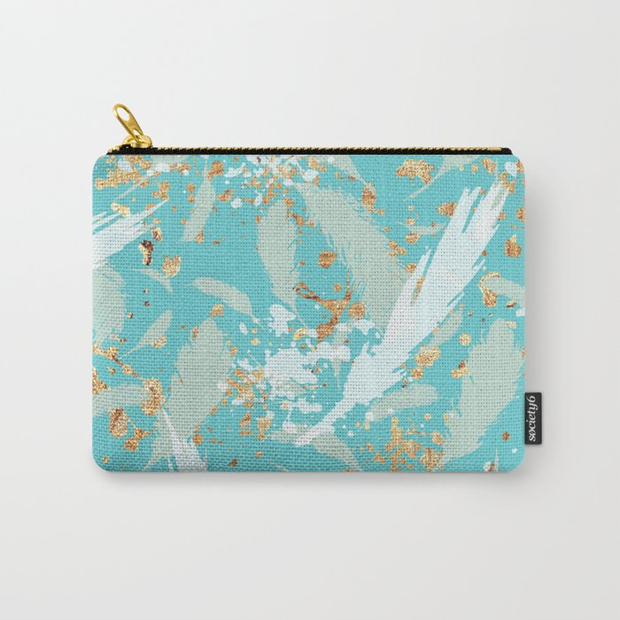Feather peacock peach mint #2 Carry-All Pouch