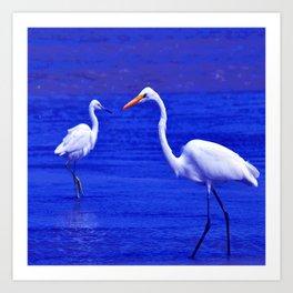ROYAL BLUE GARZA BIRD Art Print