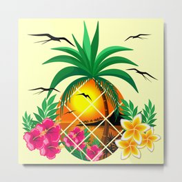 Pineapple Tropical Sunset, Palm Tree and Flowers Metal Print