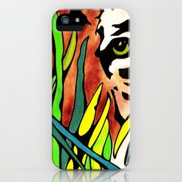 Tiger Eyes Looking Through Tall Grass By annmariescreations iPhone Case