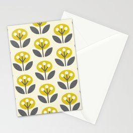 Mod Flowers in textured yellow and gray ©studioxtine Stationery Cards