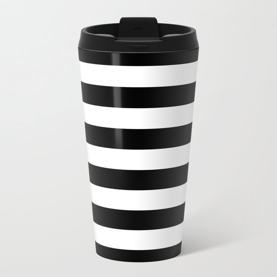 Stripe Black & White Horizontal Metal Travel Mug
