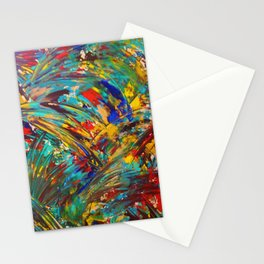 FIREWORKS IN COLOR - Bold Abstract Acrylic Painting Lovely Masculine Colorful Splash Pattern Gift Stationery Cards
