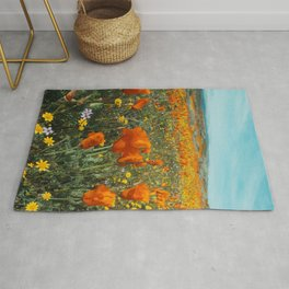 California Wildflower Poppy Superbloom Rug