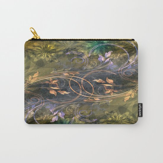 Earth Tone Floral Leaf Swirl Abstract Carry-All Pouch