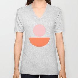 Big Shapes in Blush, Orange, and Blue Unisex V-Neck