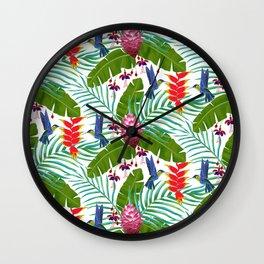 Hummingbird in the Rainforest Wall Clock