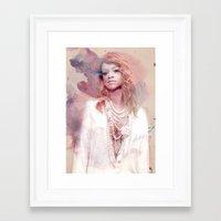 rihanna Framed Art Prints featuring Rihanna by Kanelko