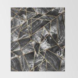 Black White Agate Black Gold Geometric Triangles Throw Blanket