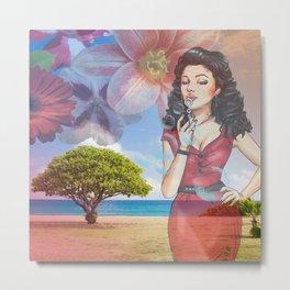 Beautiful Scenery Flowers & Girl Blowing Bubbles Metal Print