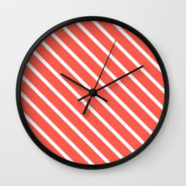Pink Grapefruit Diagonal Stripes Wall Clock