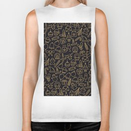 Lovely Golden Christmas Stuffs Pattern Biker Tank