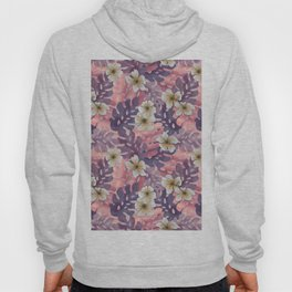 Antique Pink Hibiscus Pattern Hoody