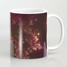 Fractal Leaves Red Glow Coffee Mug