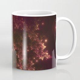 Fractal Leaves Red Glow Coffee Mug