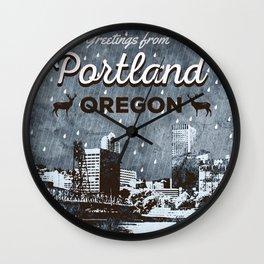Greetings from Portland Wall Clock