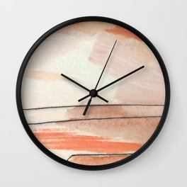 Aly [2] : minimal | pinks | white | black | mixed media | ink | abstract | watercolor | wall art Wall Clock