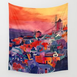 Sunset on Santorini Wall Tapestry