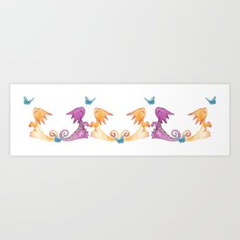 baby dragons and butterflies Art Print
